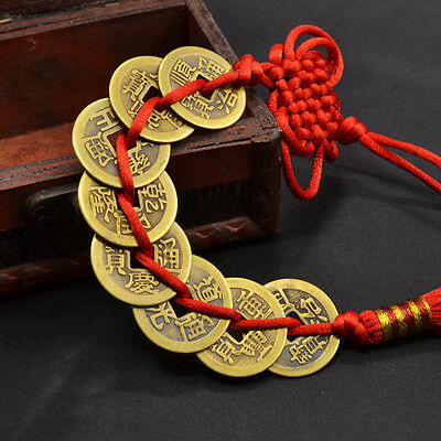 Feng Shui Lucky Eight Emperors Coins Fengshui Ching Coin Pendant Red Kont Tassel