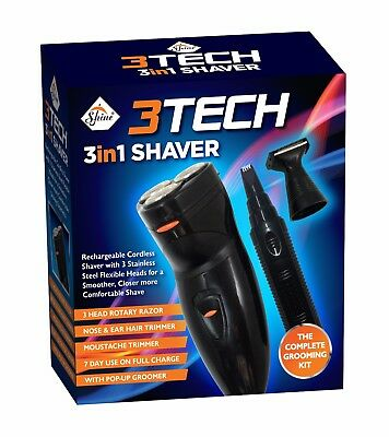 3in1 Men's Electric Rotary Shaver Rechargeable Beard Hair Nose Trimmer Razor New