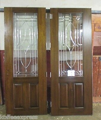 Double entry front door solid Mahogany 8 x 6 used no frame stain glass home door