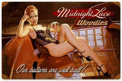 Midnight Lace Pin Up Girl Vintage Distress Metal Sign Home Wall Decor HB049