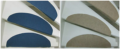 15 Carpet stair pads/treads Tripoli 65x24x4 cm in Beige, Blue and Hard Coal!
