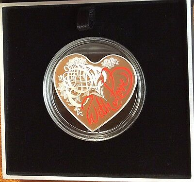 2016 $5 WITH LOVE Heart Shaped Coloured Silver Proof Coin