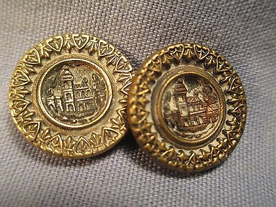 Pair of  Antique Picture Buttons - Italian Villa  /  DB 162