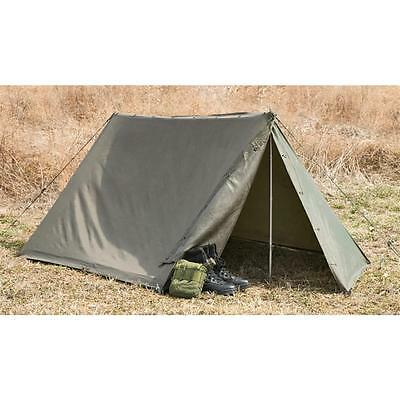 Military Shelter Half One (1) Lean to Pup Tent for Compact Camping Backpacking