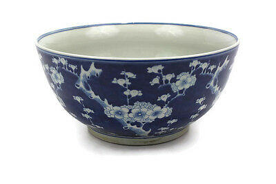"Beautiful Vintage Blue and White Style Cherry Plum Blossom Porcelain Bowl 14"" Di"