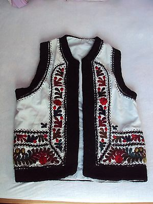 Vintage Romanian traditional vest, embroidered