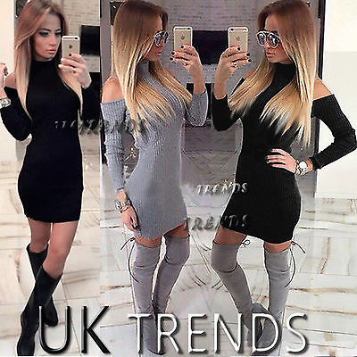 Womens Bodycon Cold Shoulder Dress Ladies Party Evening Mini Dress Size 6-14 UK