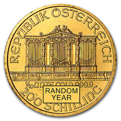 1/10 oz Gold Austrian Philharmonic Coin - Random Year