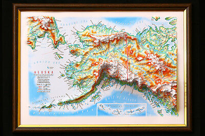 Alaska Map 3D Raised Relief Framed Map Amazing Decorative Bird's-Eye View