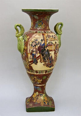 Tall Vintage Chinese Hand-Painted Polychrome & Enamel Porcelain Vase Women H45cm