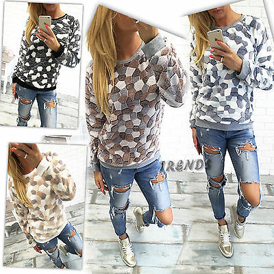 Womens Jumper Pullover Hoodies Top Winter Sweatshirt Ladies Size 6-14 UK