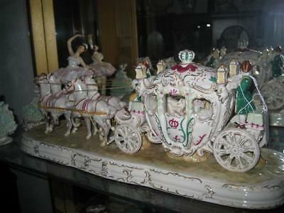 Capodimonte Italy Beautiful Horse Drawn Carriage KH