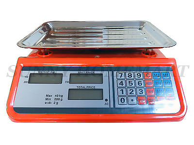 2g / 40kg Kitchen Shop Electronic Digital Price Scale Weight Fruit Meat Vegies M