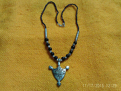 Moroccan Berber Jewelry:Black beaded & Silver coloured small Shield Necklace(2)
