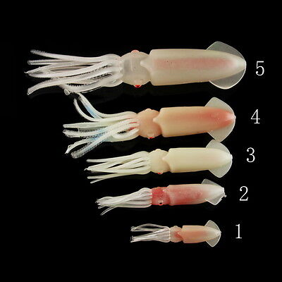 9/12/14/17/22cm Glow Soft Squid Octopus Baits Fishing Lures Catch Hooks Baits