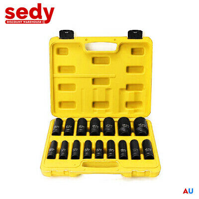 "16-Piece 1/2"" Drive Socket Set Deep Impact Long Metric Made Air Ratchet Tool"
