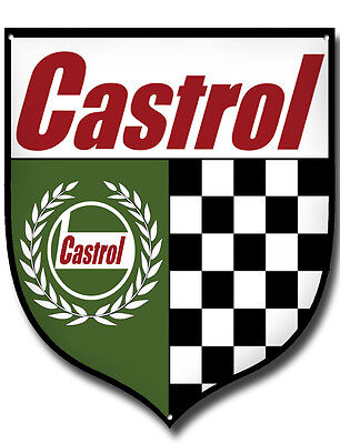 "CASTROL SERVICE HERE 11/"" HIGH GLOSS FINISH METAL ROUNDEL SIGN.GARAGE OIL SIGN."