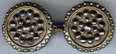 Antique Victorian Cut Steel Button Buckle Cape Clasp