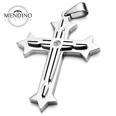 MENDINO Men's Stainless Steel Pendant Necklace Crucifix CZ Cross Polished Silver