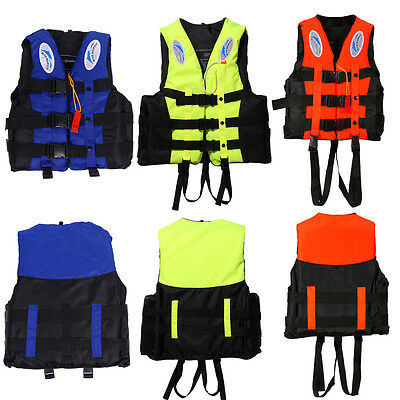 Universal Swimming Boating Ski Polyester Adult Life Jacket Vest+Whistle S-XXXL