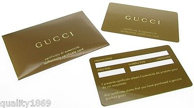 Gucci Golden Authenticity Guarantee Certificate Card - New
