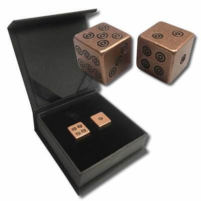 One Pair Of 1 oz .999 Fine Solid Bullion Copper Dice With Velour Pouch - 2 OZS.