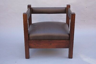 1910 Arts & Crafts Mission Cube Chair Riveted Leather Upholstery Set (8814)
