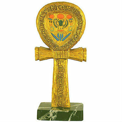 """Egypt souvenirs Ankh Gold and Color Statue on Marble Case, 9"""""""