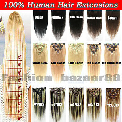 Factory Price Clip in Real 100% Real Human Hair Extensions 15-22inch Full Head