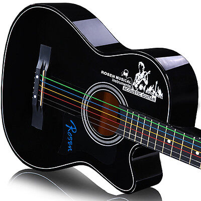 New High Quality Steel Rainbow Colorful Color Strings for Acoustic Guitar 6pcs