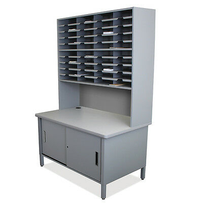 Marvel Mailroom 40 Slot Mailroom Organizer with Cabinet, Riser-76 H x 48 W x 30D
