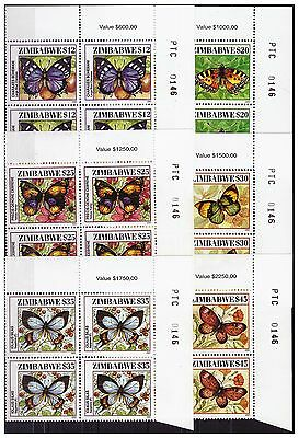 Zimbabwe 2001 Butterflies Sg1066 To 1071, Number Blocks , Muh