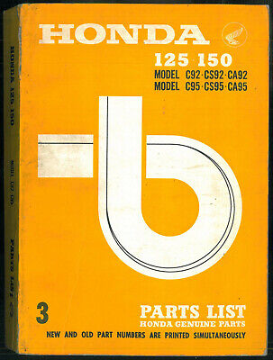 PARTS LIST HONDA 125 C92 CS/CA92 -150 C95 CA/CS95 BENLY 1959/67 Catalogue Manuel