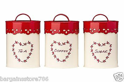 Anglaise Canisters Set of 3 Storage Tea Coffee Sugar Jars Red Cream Heart Tins