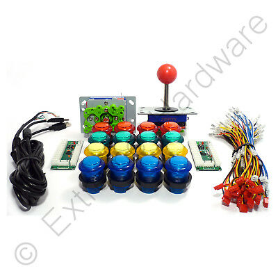 2 Player Arcade Control Kit - 2 Ball Top Joysticks, 16 LED Illuminated Buttons