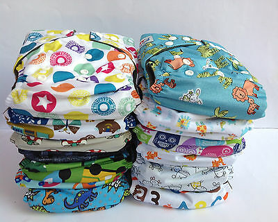 8 Baby Cloth Nappies Charcoal Bamboo Nappy New Reusable One Size Inserts Boy