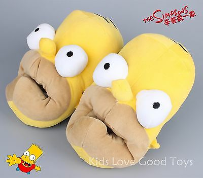 New Novelty Homer Simpson Slippers Yellow Adult Funny Plush Big Mouth Shoes