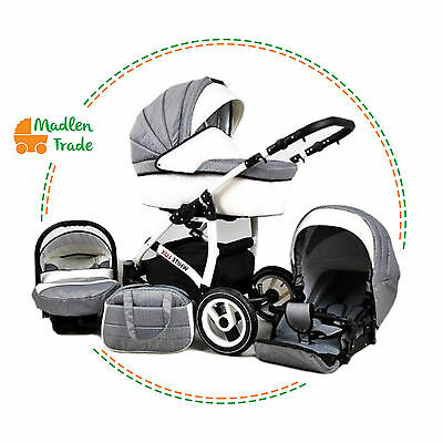 Baby Pram Pushchair Stroller White Lux 3in1 With Car Seat Travel Sysytem/Carbon