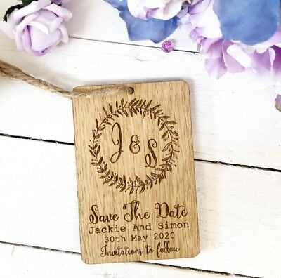 Save The Dates Day Personalised Fridge Magnets Wood Wedding 10STD