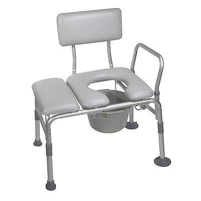 Padded Seat Transfer Bench with Commode Opening 12005KDC-1 By Drive Medical New