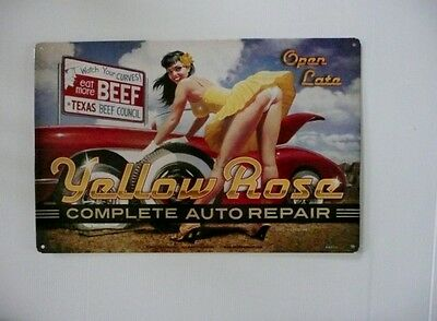 YELLOW ROSE, COMPLETE AUTO REPAIR OPEN LATE   Metal tin Sign