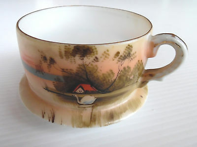 Vintage Tea Cup With Saucer Attached River Scene Motif Fine Translucent China