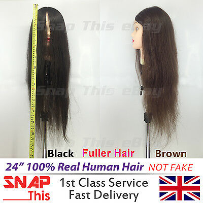 "24"" 100% Real Human Hair Training Head Student Mannequin Hairdressing Practice"