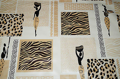 Wipe Clean African Culture Cheetah PVC Tablecloth Vinyl Fabric Oilcloth Patio