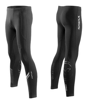 Virus Men's Stay Cool Grappling Compression Spats (Co19) BLACK/SILVER, Pants