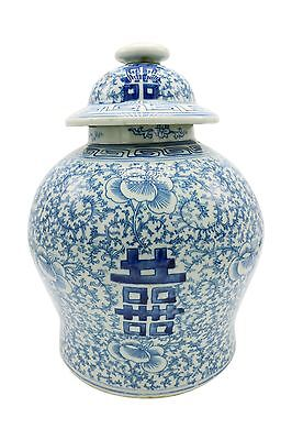 """Blue & White Porcelain Double Happiness Chinoiserie Lidded Temple Jar 12"""""""