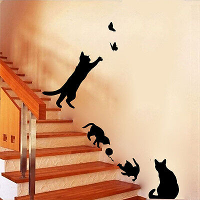 Cat Play Living Room Decor Removable Decal Mural Art PVC Wall Sticker DIY GN