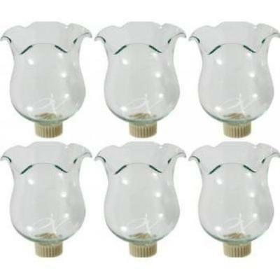 6 Clear Glass Votive Candle Holder Cups W/Peg Bottoms New Gift