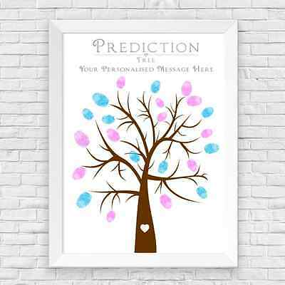 A4 Personalised Baby Shower Finger Print Tree Prediction Cards Alternative, Game