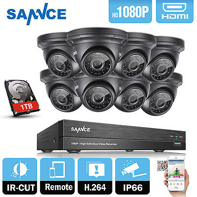 SANNCE 8CH HD 1920*1080P AHD Home CCTV Security Camera Kit System IR Outdoor 1TB